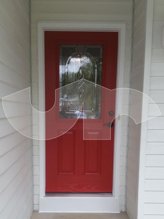 Lombard Red Fiberglass Entry Door