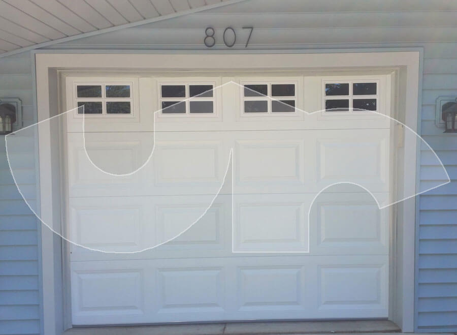 Lombard Single Car Raised Short Panel Garage Door with Stockton Glass