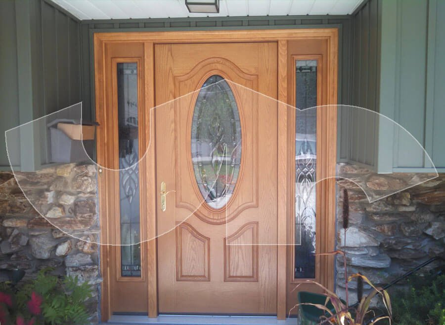 Villa Park 3/4 Oval Deluxe Fiberglass Entry Door with Sidelites