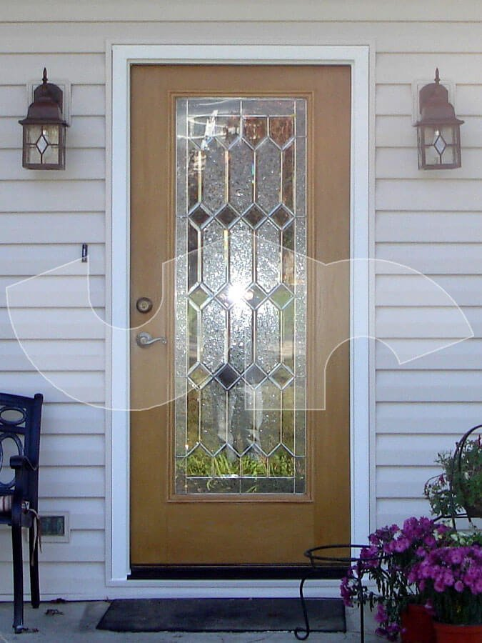 Wheaton Full lite Fiberglass Entry Door with Decorative Glass