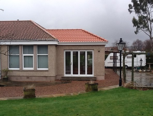 View of doors installed at the house extension