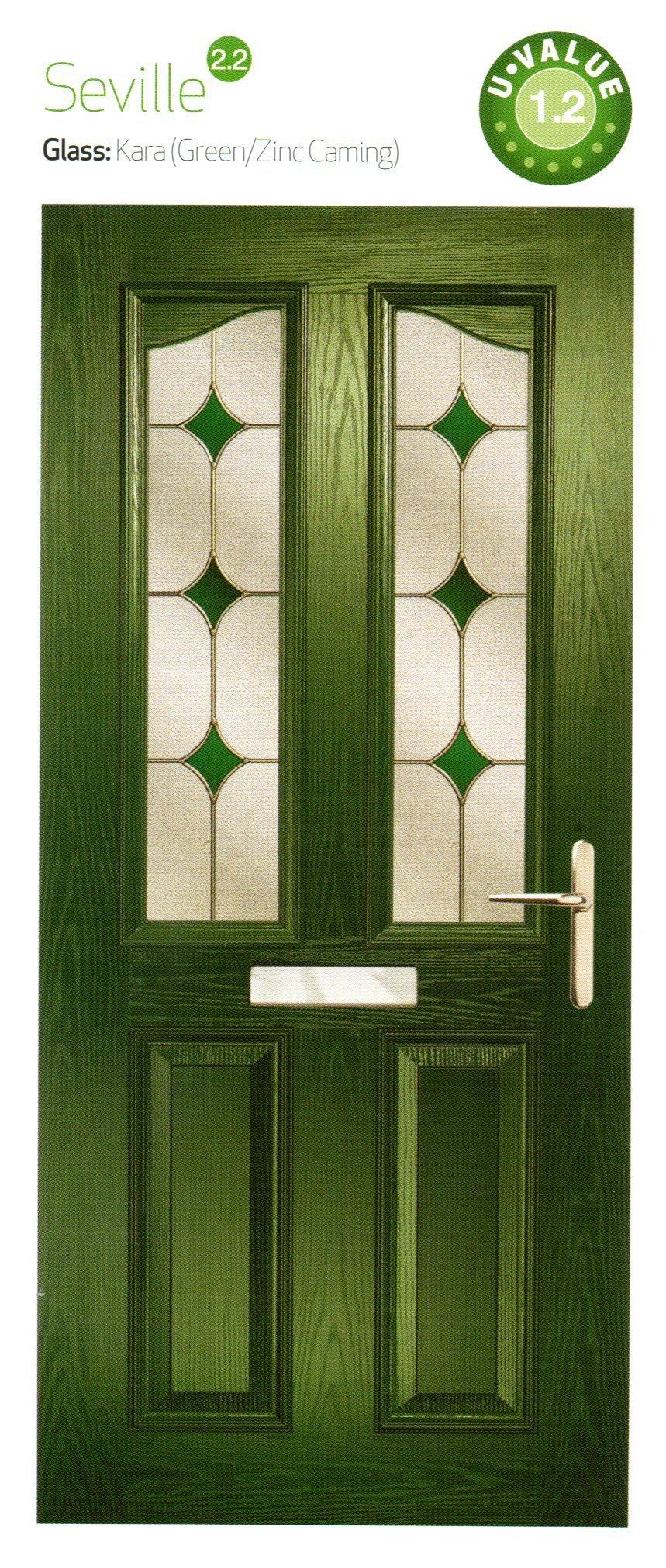 composite doors in green color