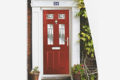 red color composite doors