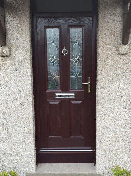 composite doors in dark brown color