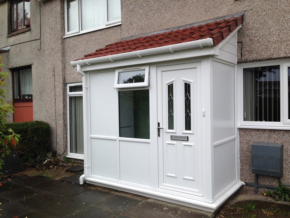 Installed window & doors at a porch