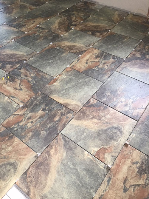 tile being laid
