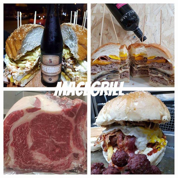 panini con hamburger, con polpette e birra