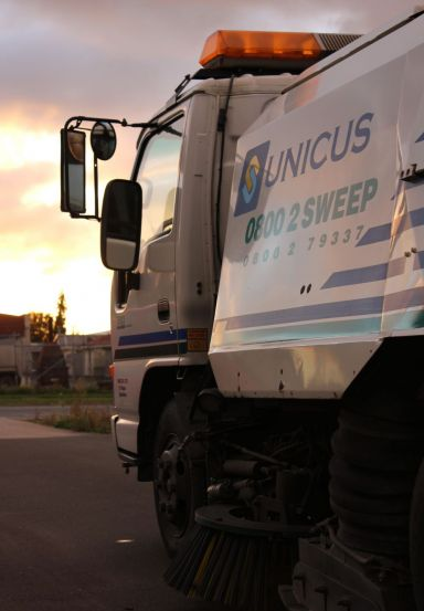 A road sweeping truck from our Waikato and Bay Of Plenty cleaning company