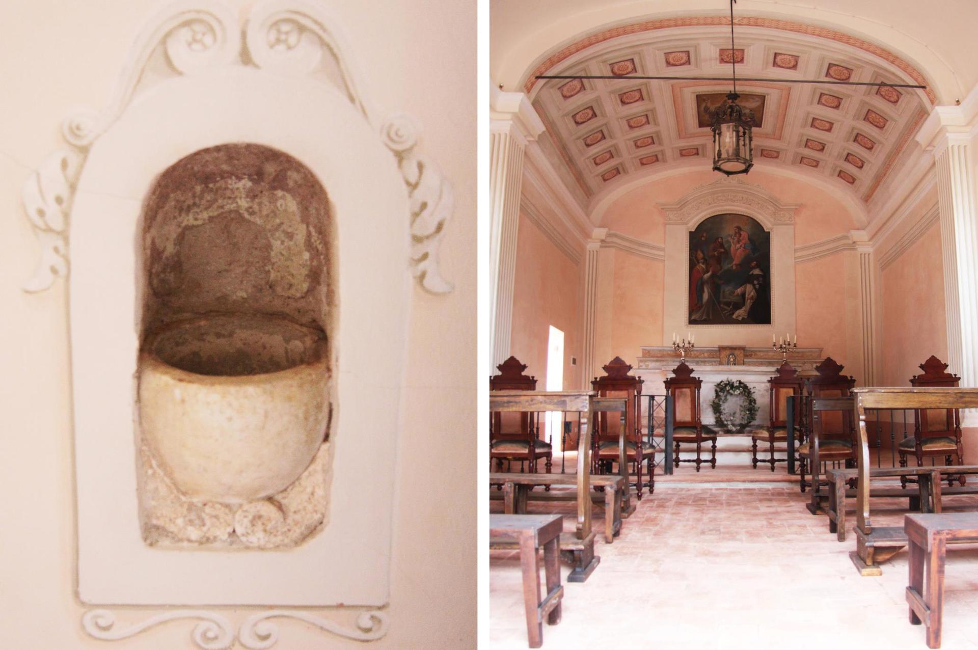 interno di una chiesa con immagine dell`acqua santa