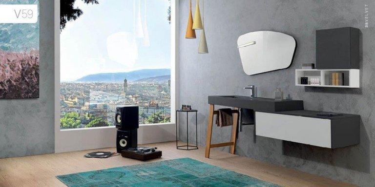Mobile bagno Mobiltesino Velvet  Top scatolato integrale ecocemento grigio piombo