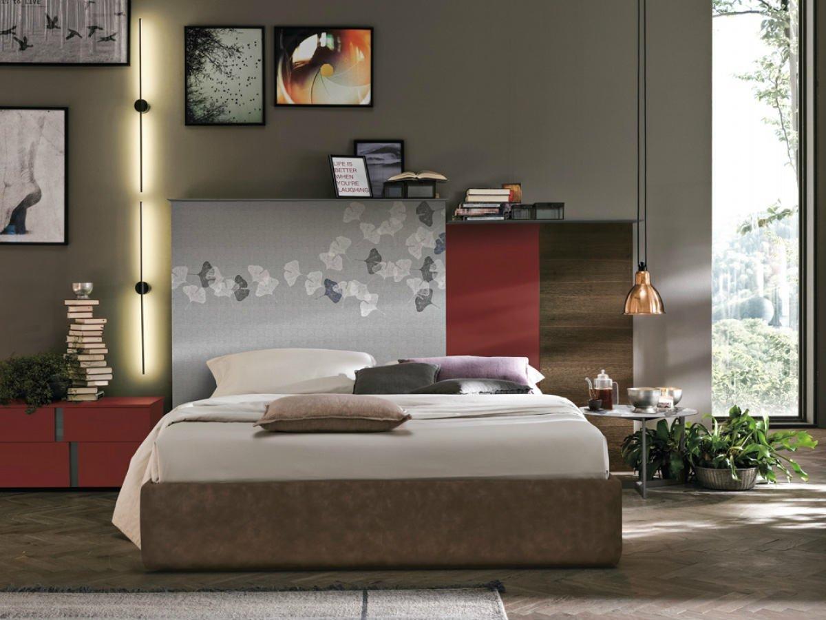 una camera da letto moderna con toni di colori beige e marrone