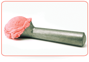 An ice cream scoop with strawberry Isle of Skye Ice Cream