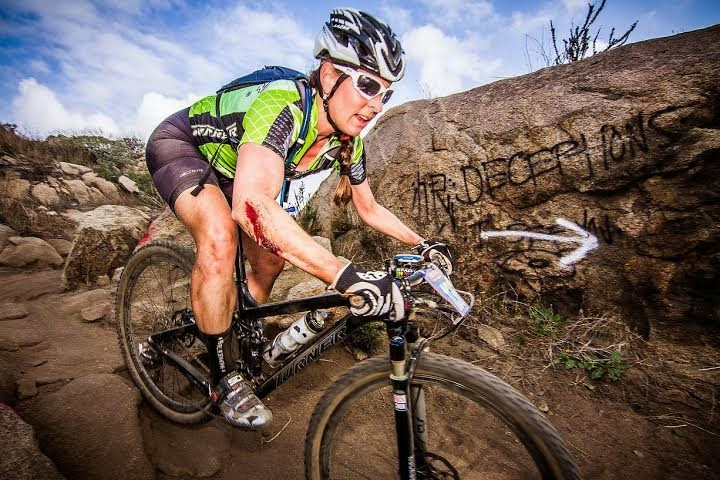 cyclocross cyclist Christina Probert-Turner rides bike in a race