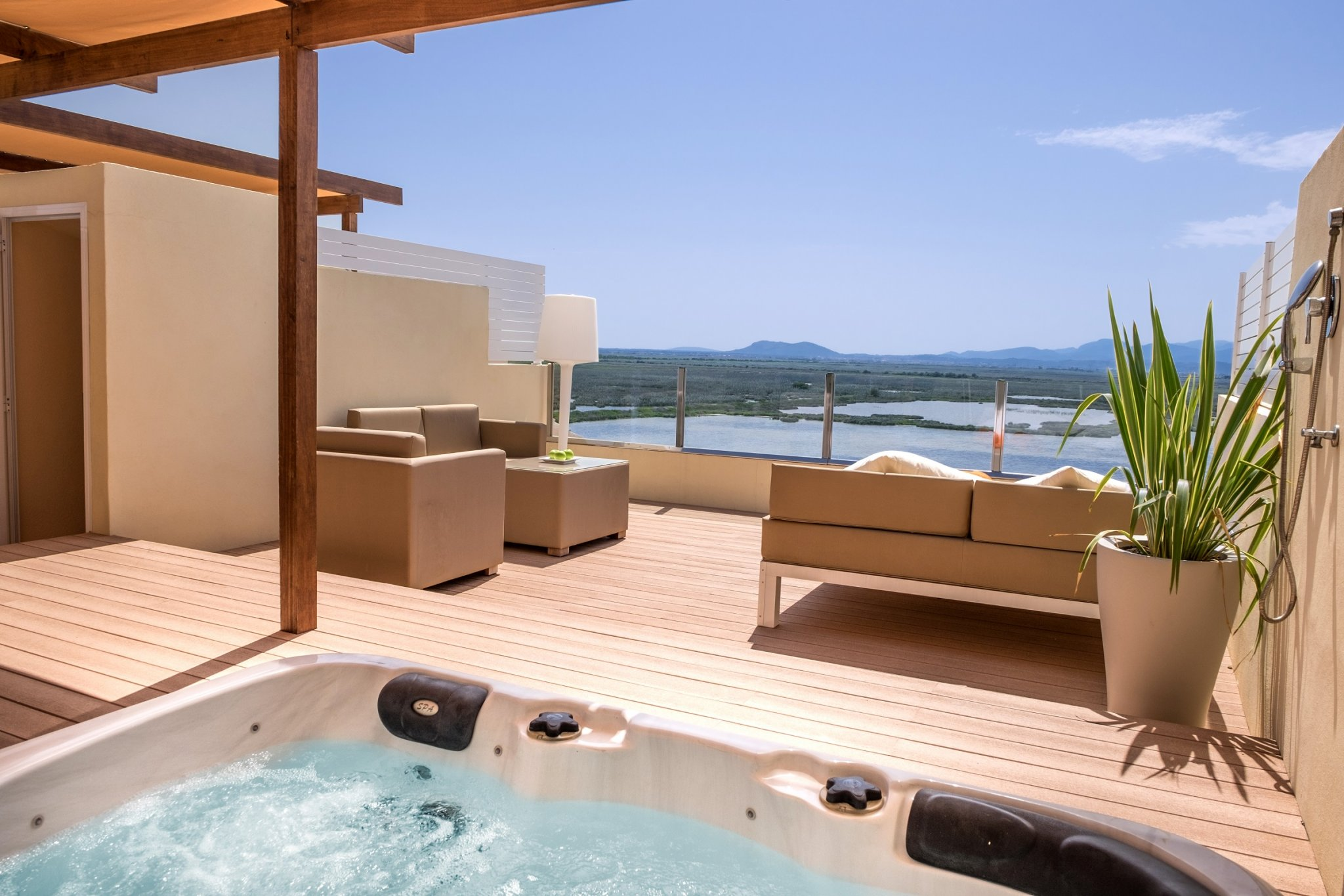 deck on premium room at Viva Blue and Spa cycling camp in Mallorca Spain