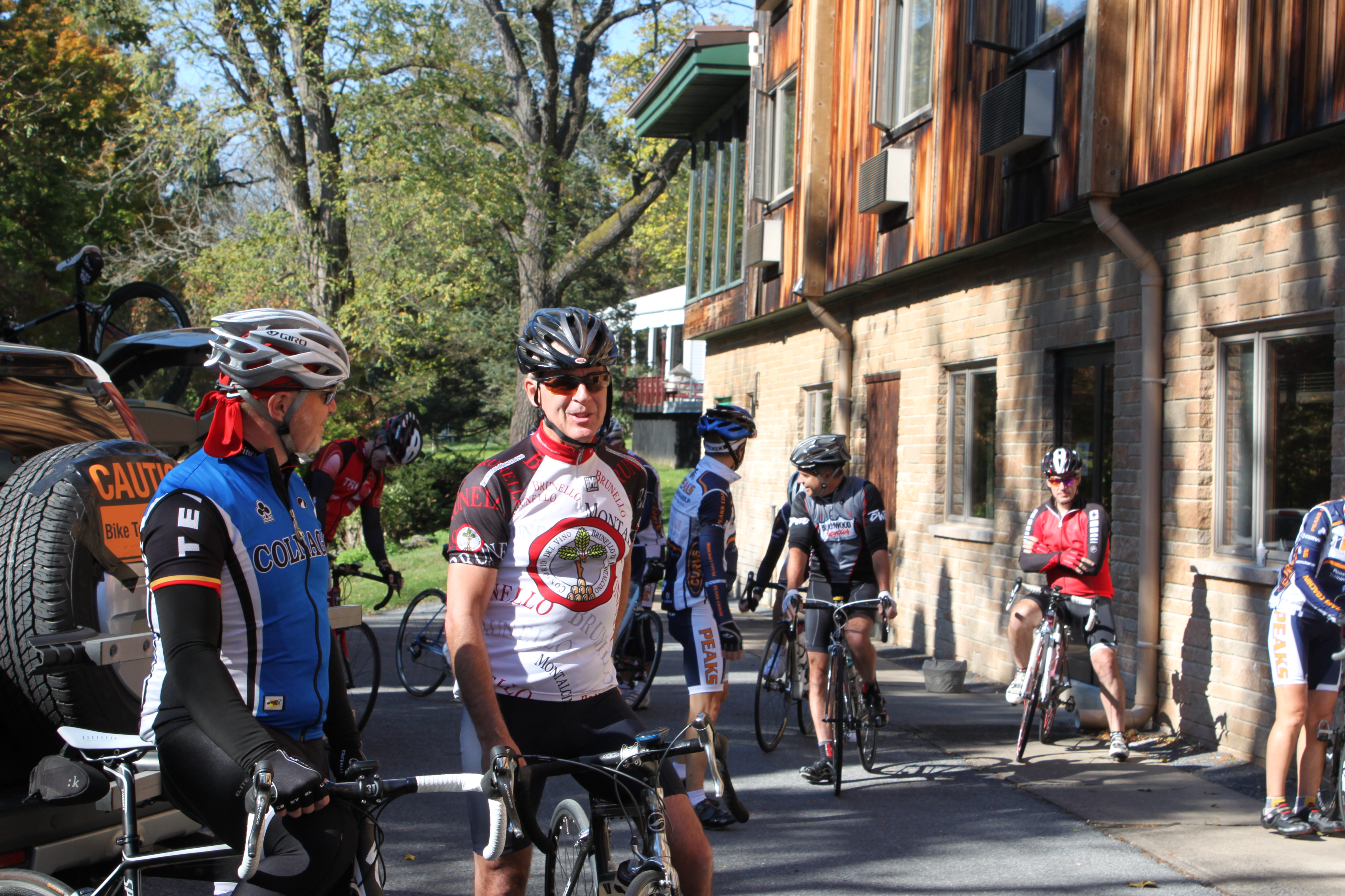 group of cyclists at a cycling camp