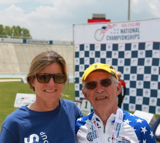 coach Kathy Watts and Carl Grove at victory