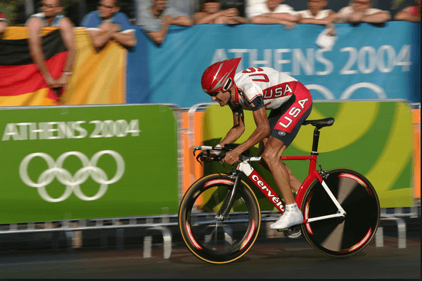 Cyclist Bobby Julich rides in the 2004 Olympics and earns silver medal