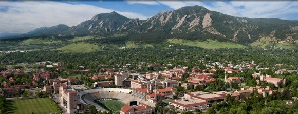 Mountains and the city of Boulder Colorado