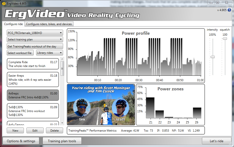 ErgVideo ride cycling workout for indoor training