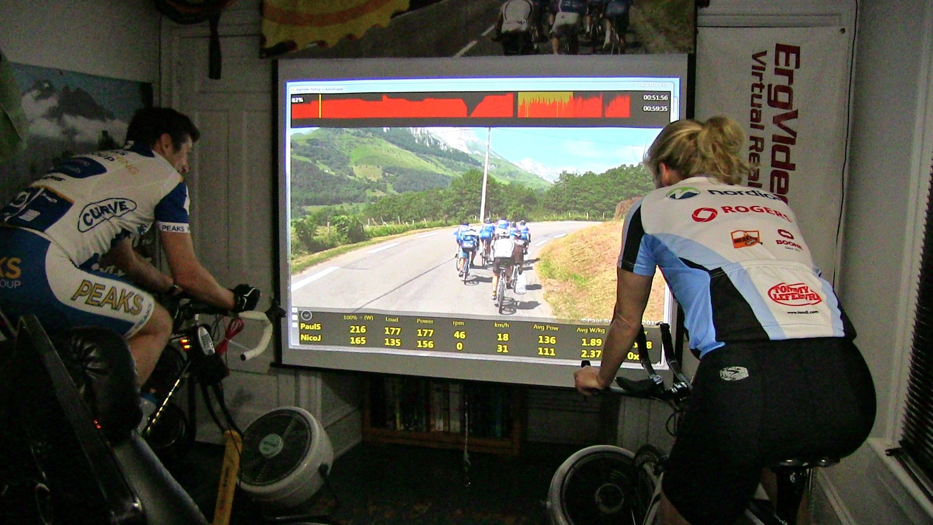 two cyclists riding indoors with ErgVideo