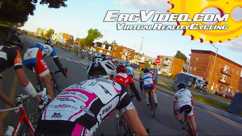 cyclists racing in an ErgVideo cycling workout video