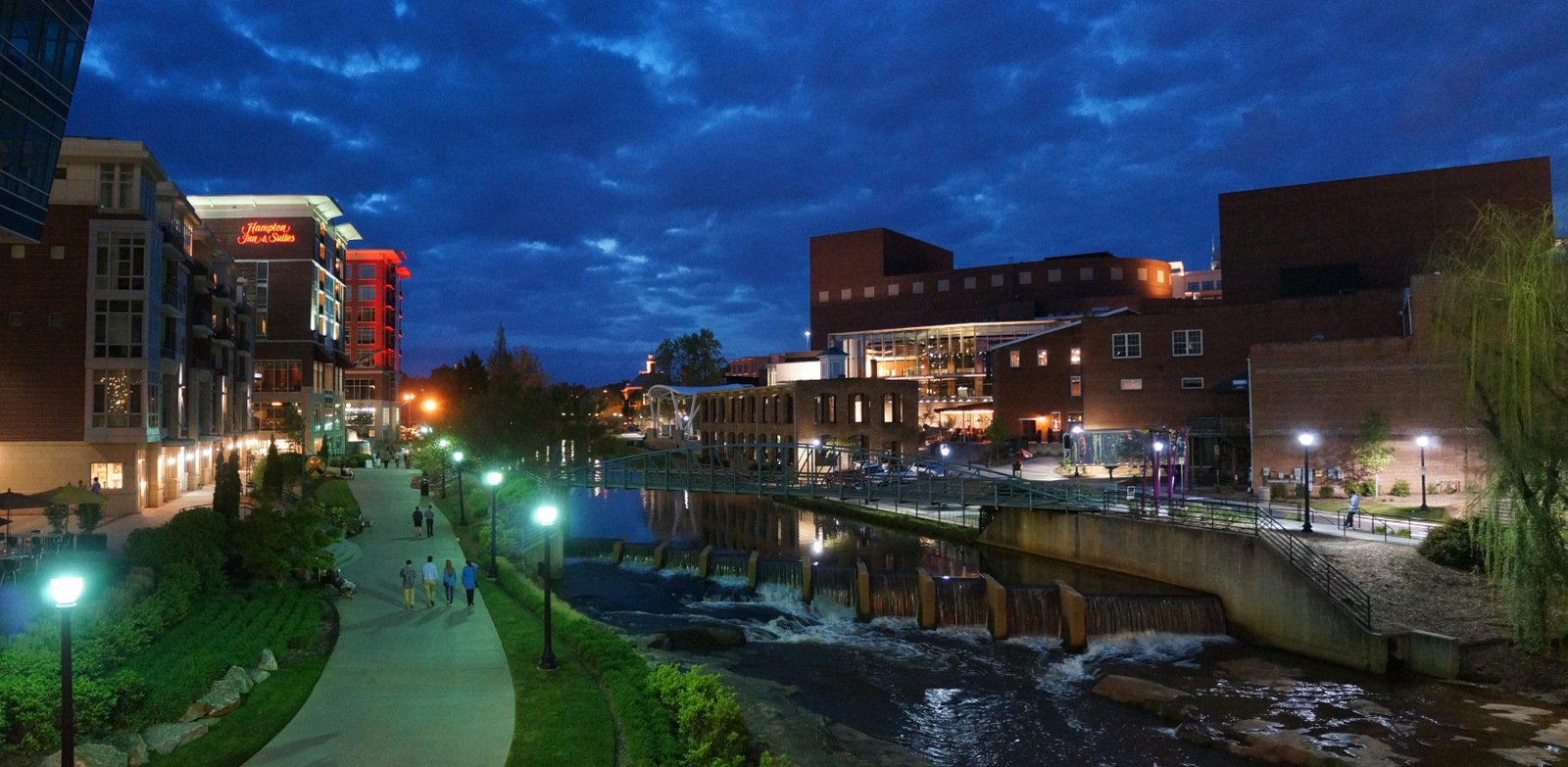 Greenville RiverPlace scene at night