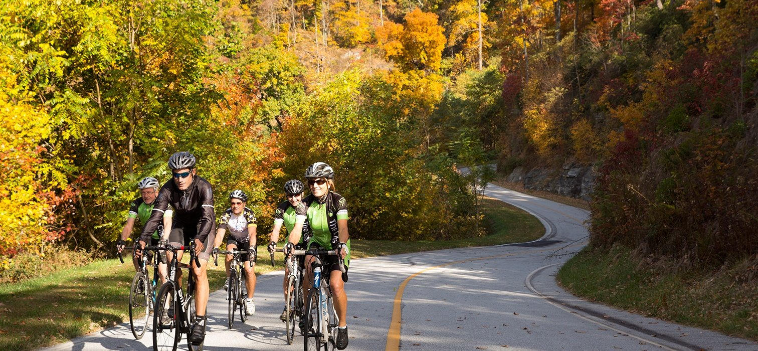 Cyclists riding at a cycling camp in Pennsylvania