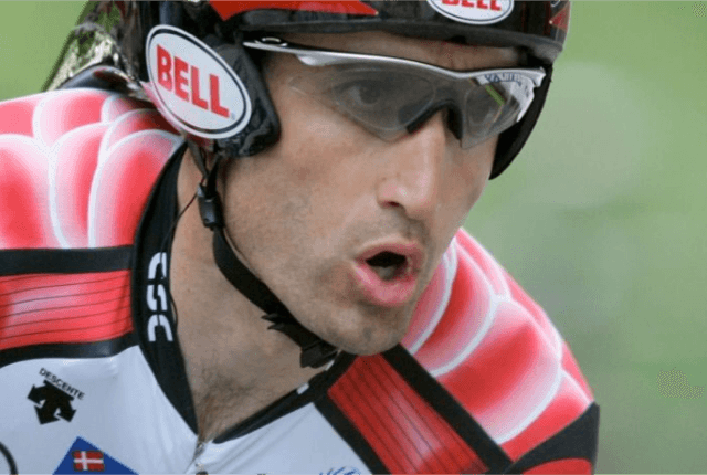 Cyclist Bobby Julich rides bike in the Tour of California race