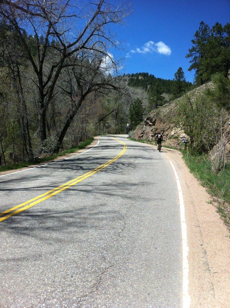 Cyclist riding in Boulder Colorado