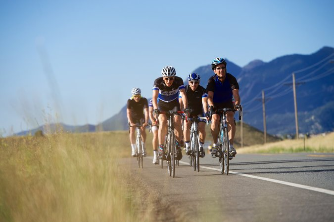 Cyclists riding on road in Boulder Colorado