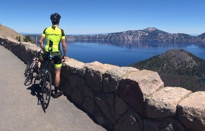 cyclist coach Brig Brandt enjoys vista at cycling camp