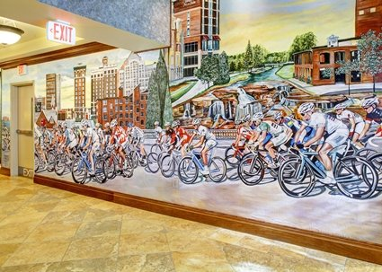 Mural in the lobby at the Hampton Inn and Suites Greenville South Carolina RiverPlace
