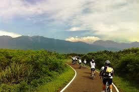 Cyclists riding at cycling camp in Guadeloupe