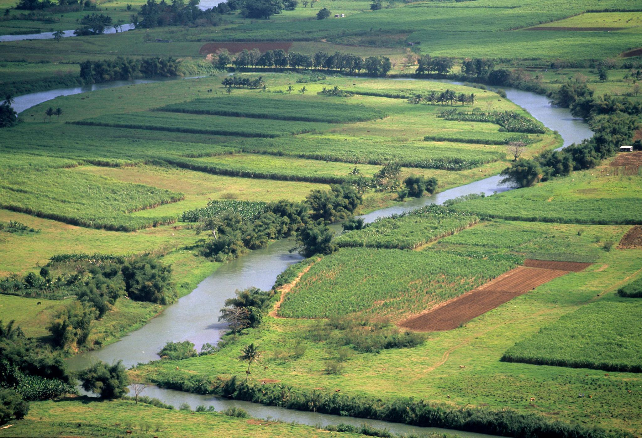 fields and river seen at cycling camp in Guadeloupe