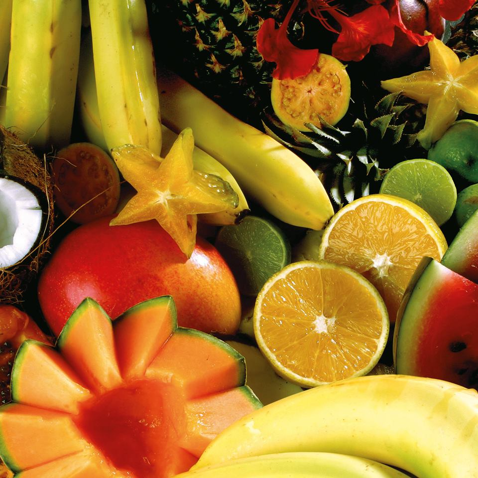 fresh fruit at cycling camp in Guadeloupe