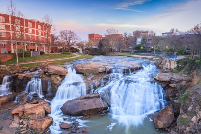 Waterfalls at the Greenville Riverplace
