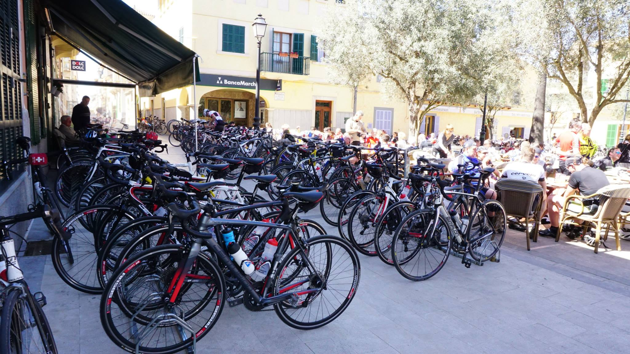 bicycles parked at cycling camp in Mallorca, Spain