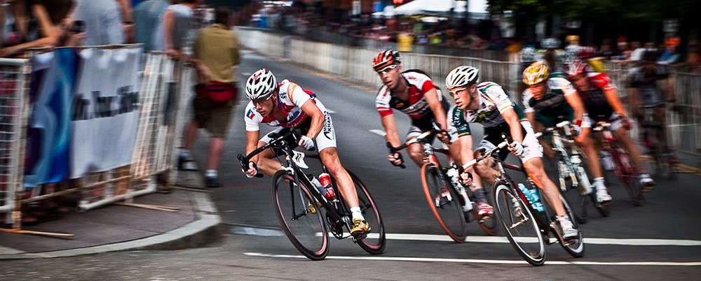 Cyclists racing in road race