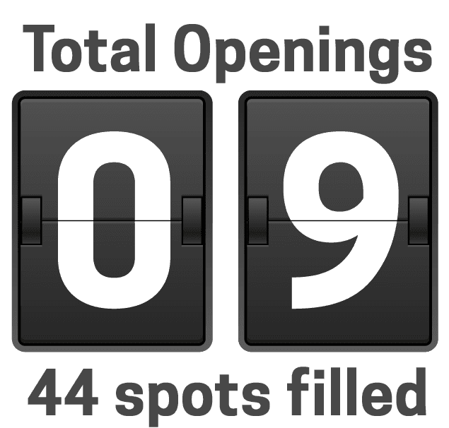 6 total openings remain