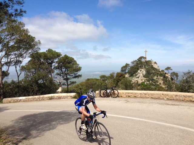 Randa monestary with coach Paul at cycling camp in Mallorca, Spain