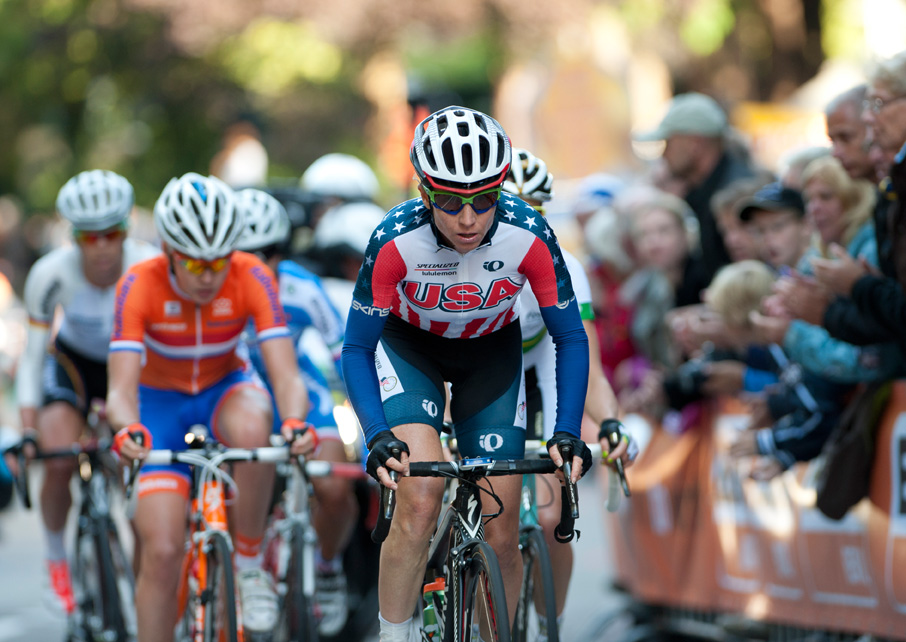 cyclist world national champion Amber Neben races in a bike race