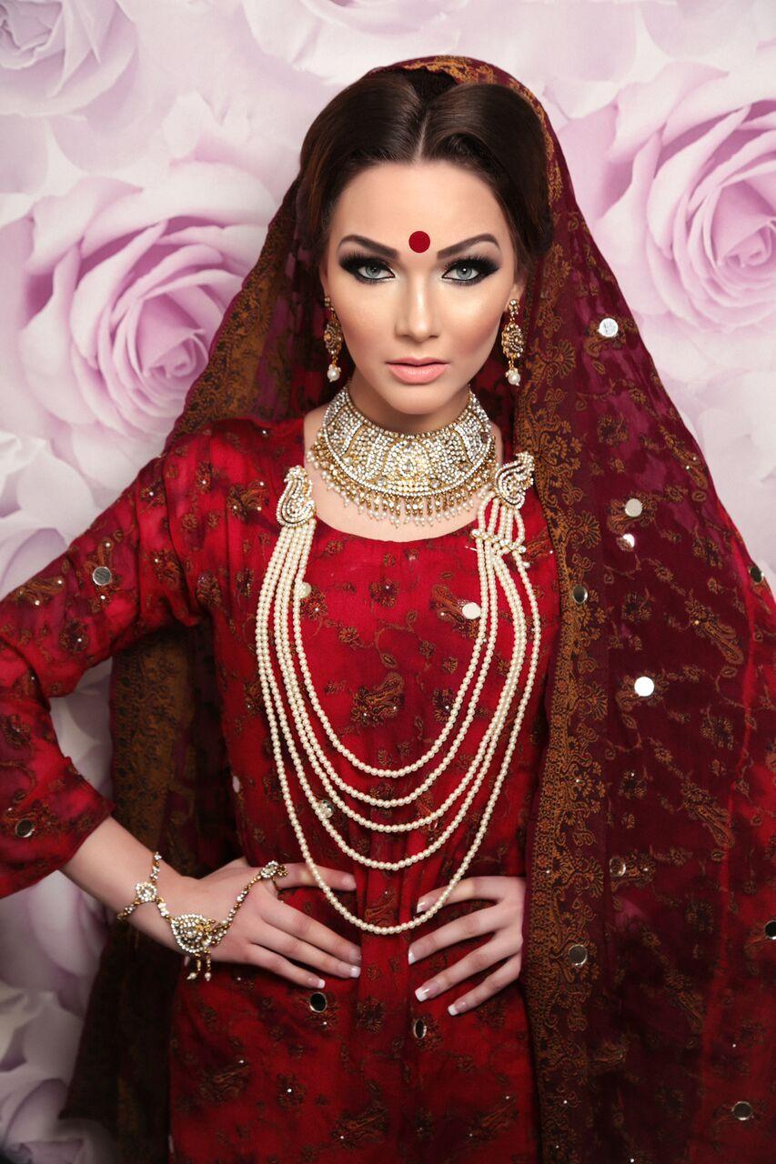 bride in a red dress