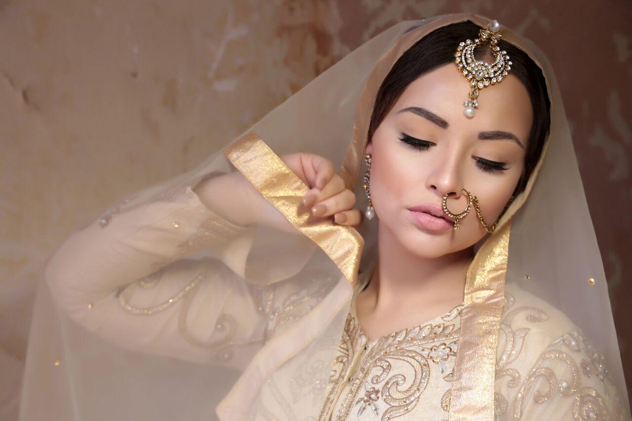 bride wearing golden clothes