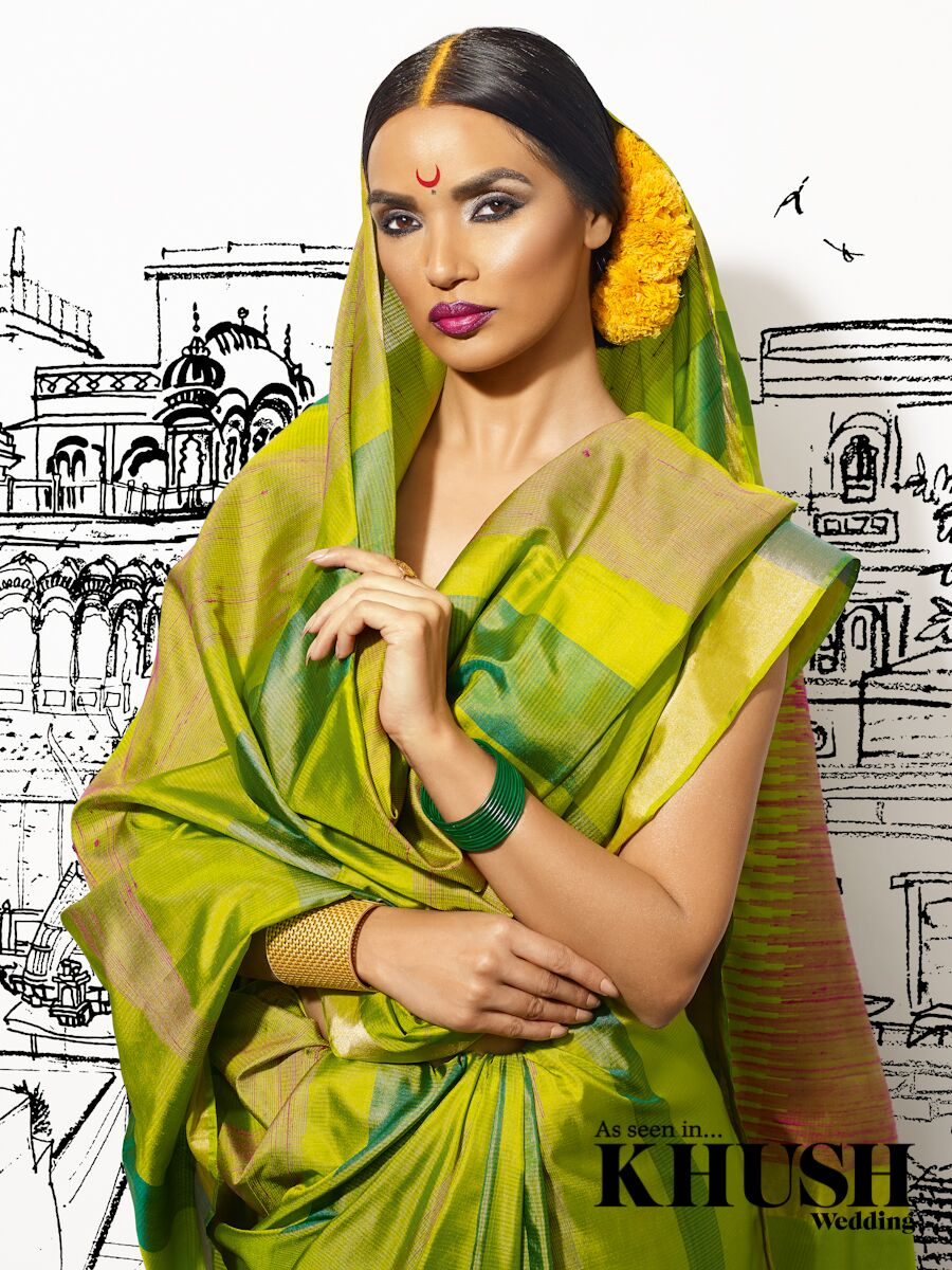 woman wearing green saree