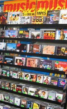 Music CDs in racks