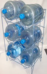 Water bottles in retail wire display stand