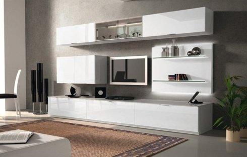 soggiorno bianco laccato