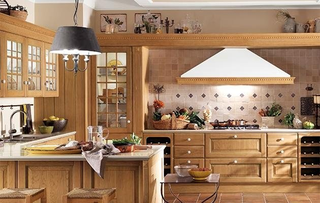 cucina scavolini legno piano cottura