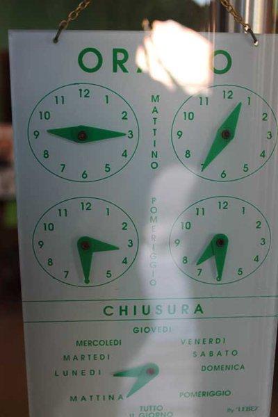 orario di apertura e chiusura