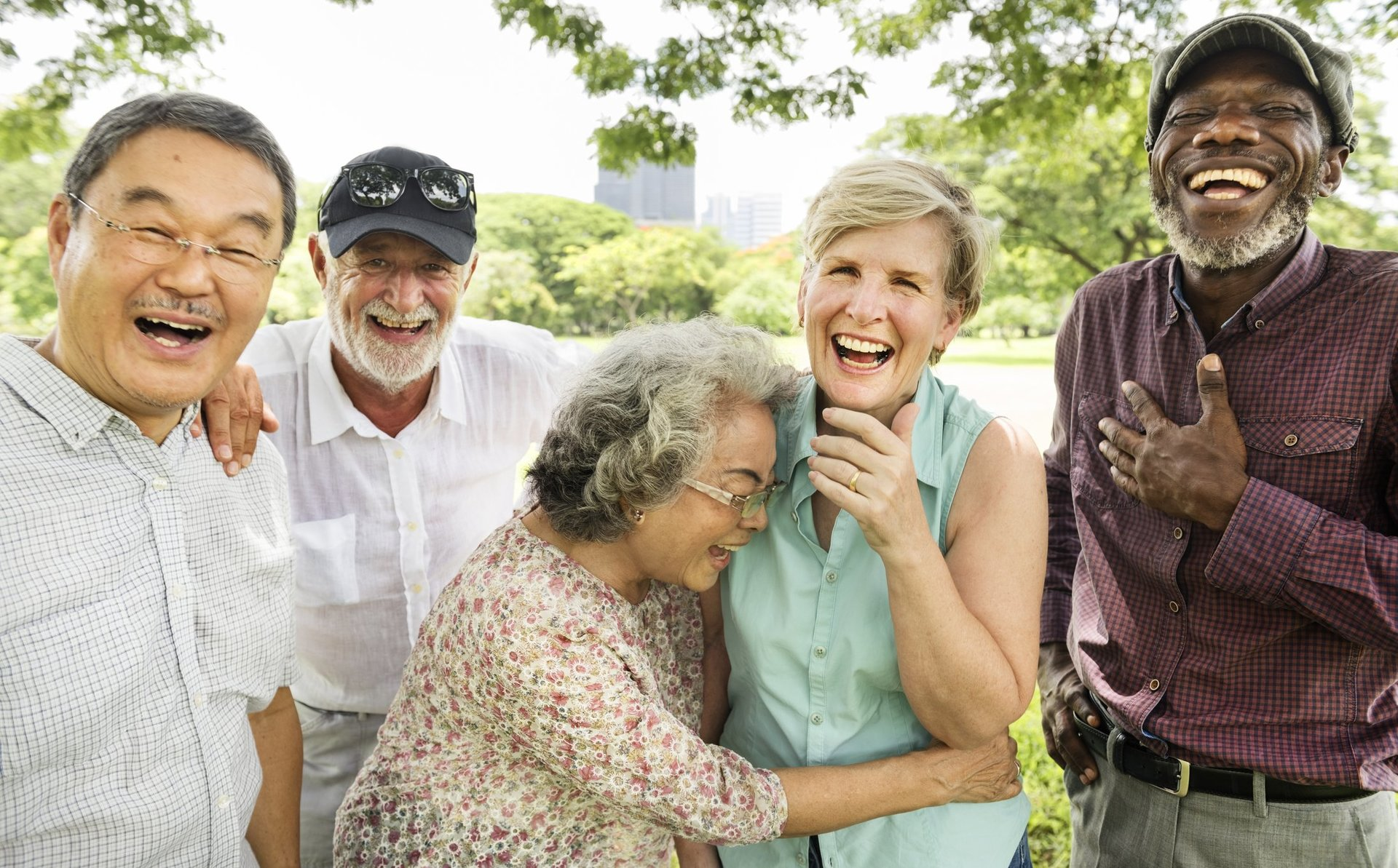 Happy people laughing